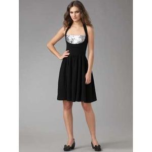 Black knit dress with silver sequins